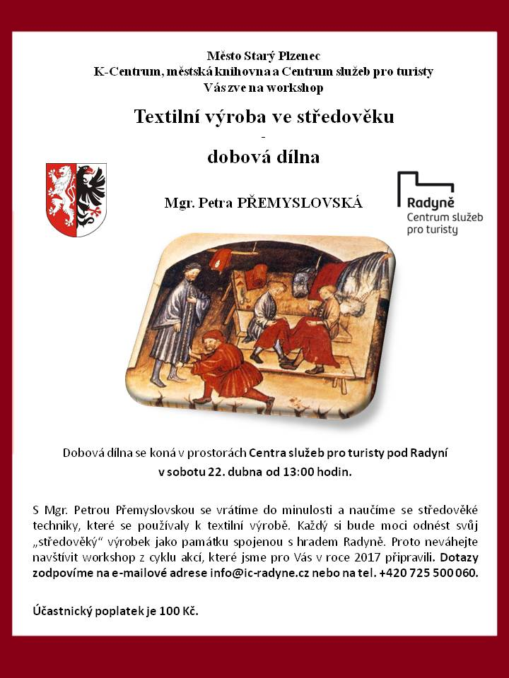 Dobová dílna_textilní výroba ve středověku_plakát